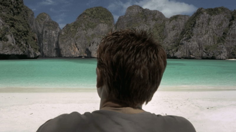 Leonardo DiCaprio on Maya Bay in Thailand which is the main The Beach filming location