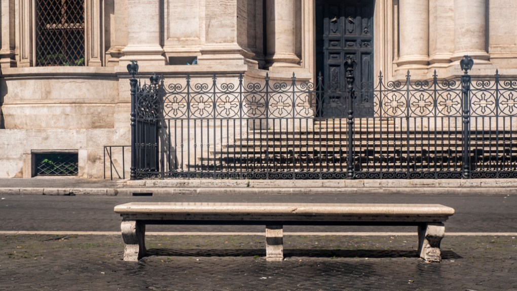 Bench in Piazza Navona in Rome, Italy