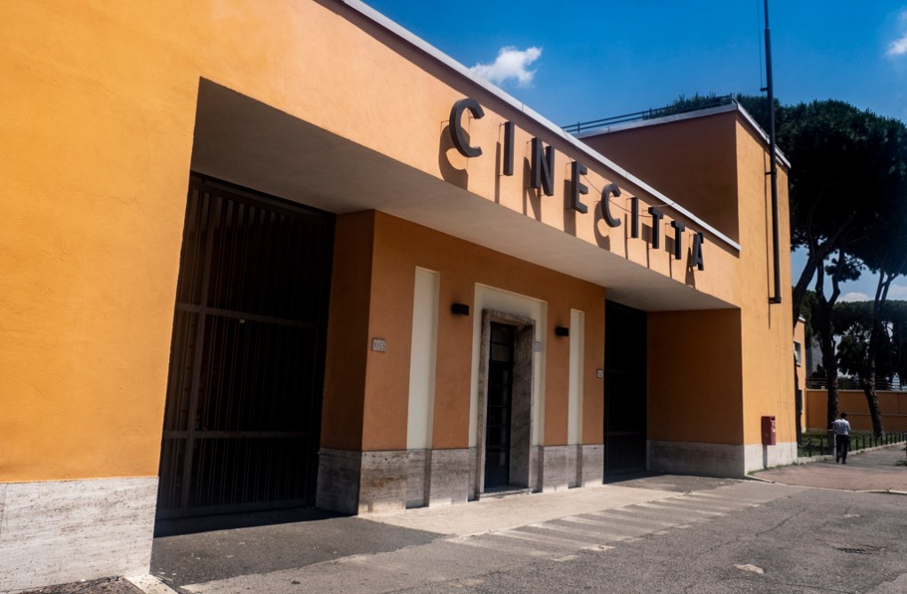 Front entrance of Cinecittà studio tour and film museum in Rome, Italy