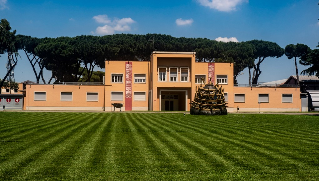 Main buildings at Cinecittà studio tour and film museum in Rome, Italy