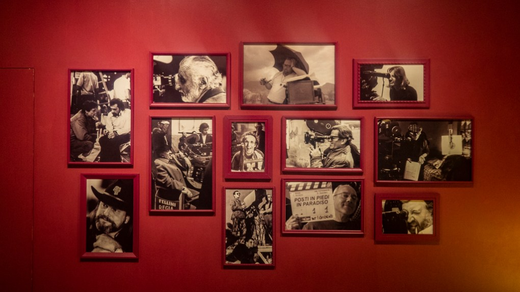 Photographs in an exhibition at Cinecittà studio tour and film museum in Rome, Italy