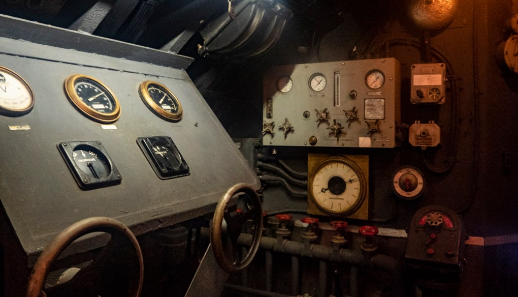Submarine set at Cinecittà studio tour and film museum in Rome, Italy
