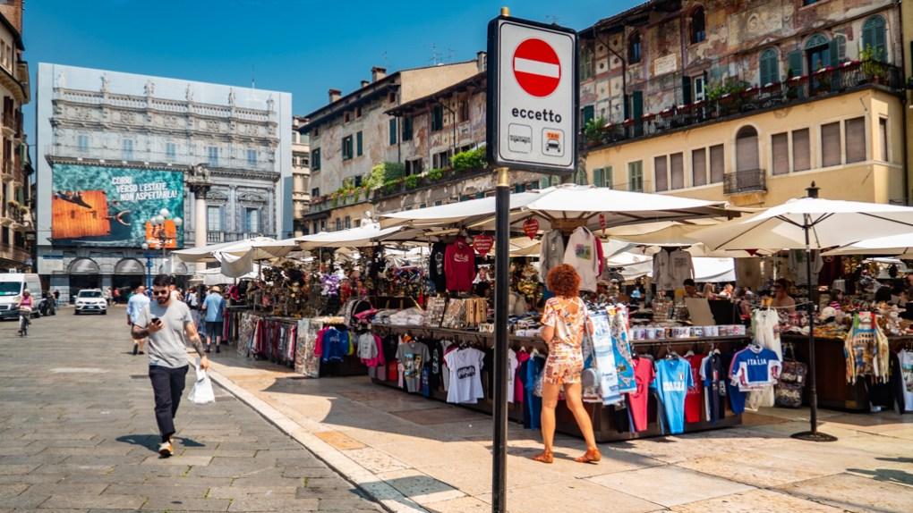 Piazza Delle Erbe Markets in Verona, Italy, 24 hours in Verona
