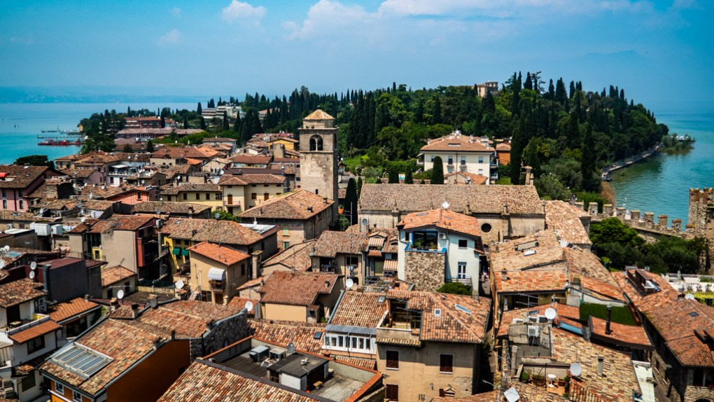 View of Sirmione from Castle Scaligero in Sirmione on Lake Garda, Italy