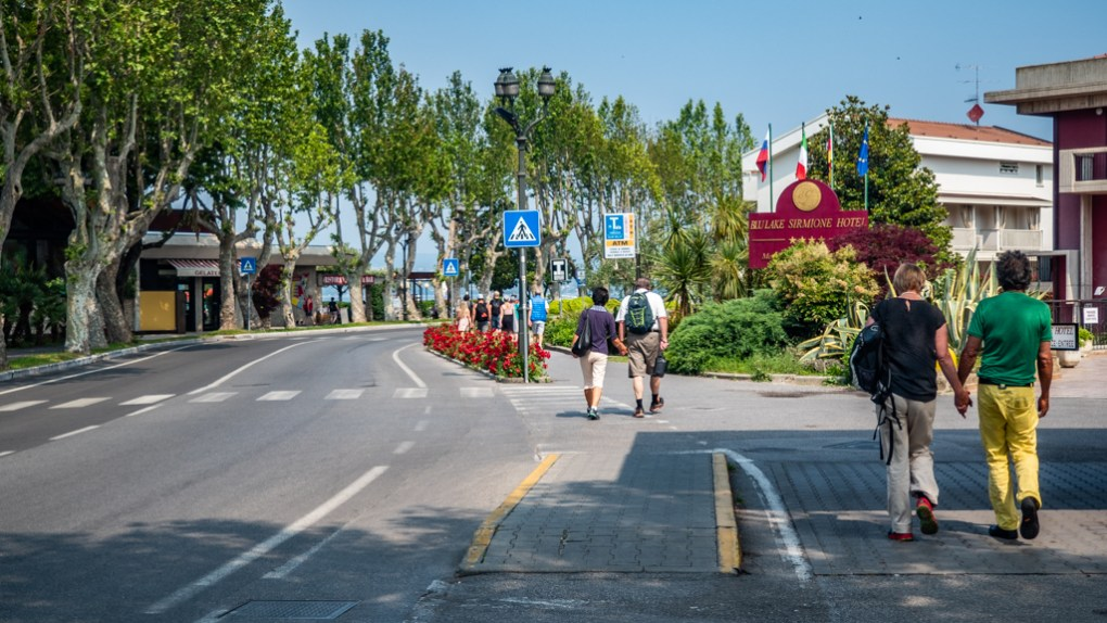 Walking from Sirmione bus stop to Sirmione on Lake Garda, Italy