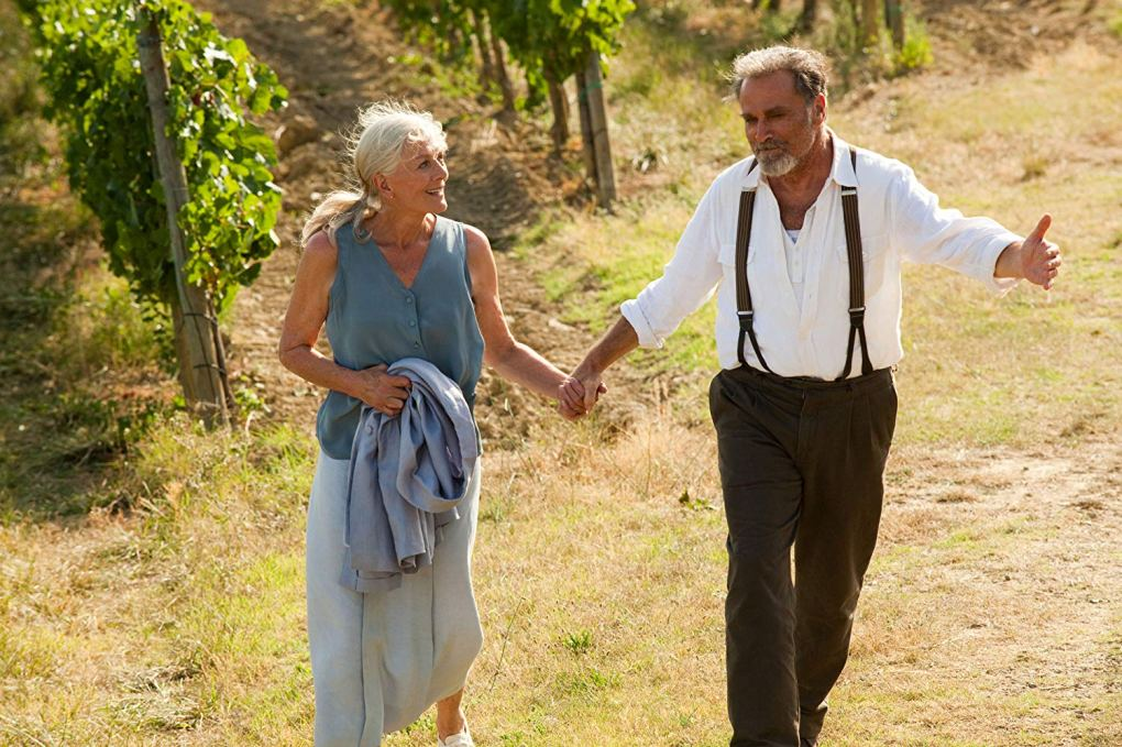 Claire and Lorenzo in a vineyard in Tuscany as seen in Letters to Juliet (2010)