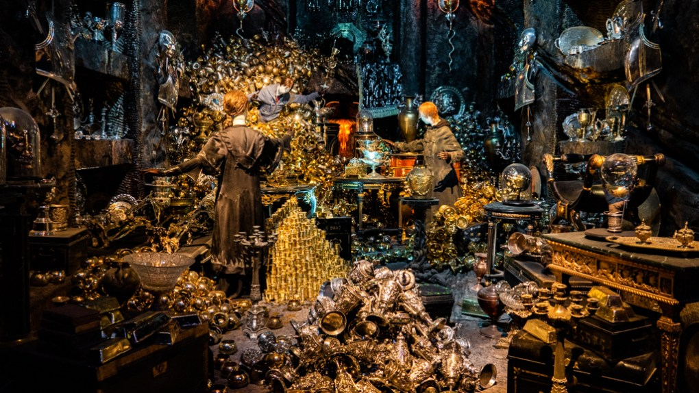 Inside Ballatrix Lestrange's vault in Gringotts at the Harry Potter Studios in London