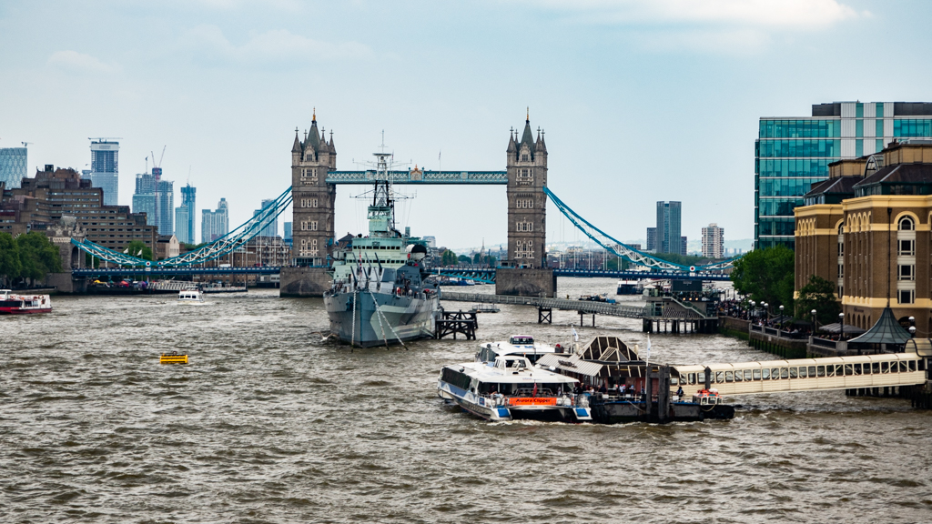 Tower Bridge and HMS Belfast on the River Thames, London