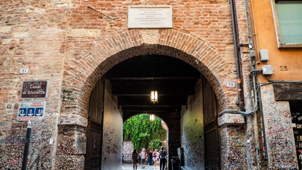 Entrance to Casa di Giulietta Courtyard in Verona, Italy