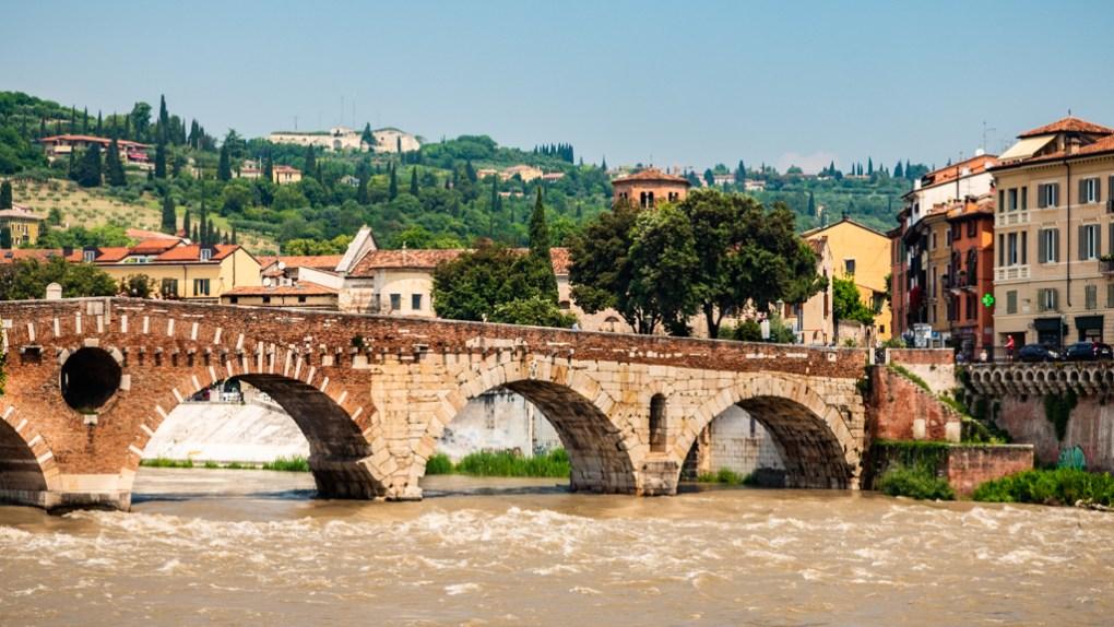 Ponte Pietro bridge in Verona, Italy