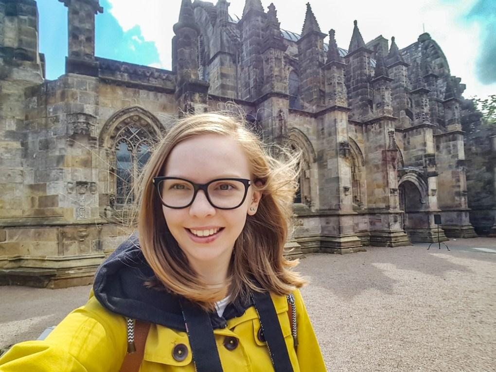 Almost Ginger blog owner at Rosslyn Chapel in Edinburgh, UK