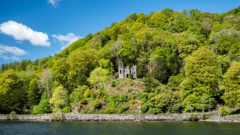 Castle on an island in Lake Windermere in Bowness-On-Windermere in the Lake District, UK
