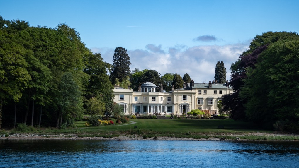 Mansion on the banks of Lake Windermere in Bowness-On-Windermere in the Lake District, UK
