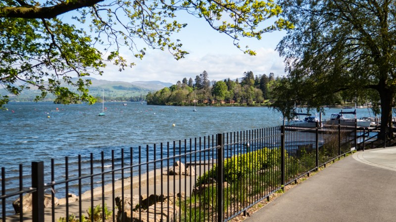 View of Lake Windermere from the promenade inBowness-On-Windermere in the Lake District, UK