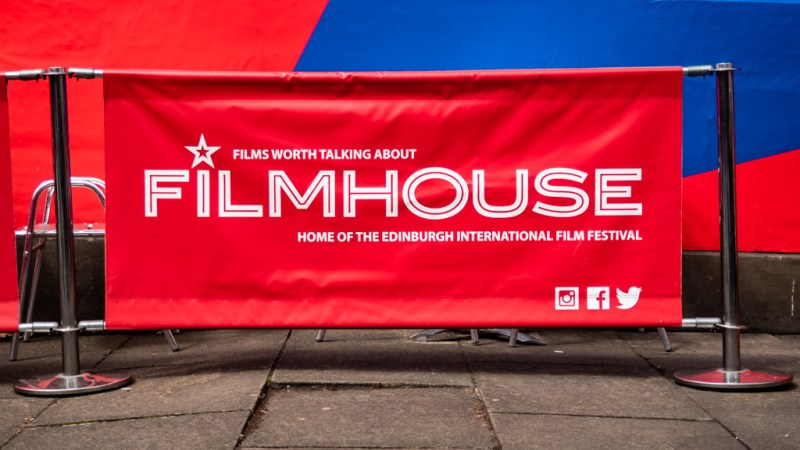Edinburgh International Film Festival 2019 sign outside the Filmhouse cinema in Edinburgh, UK