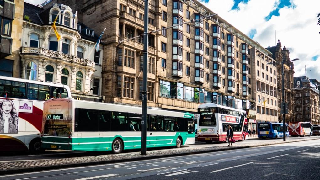 Buses on Princes Street in Edinburgh