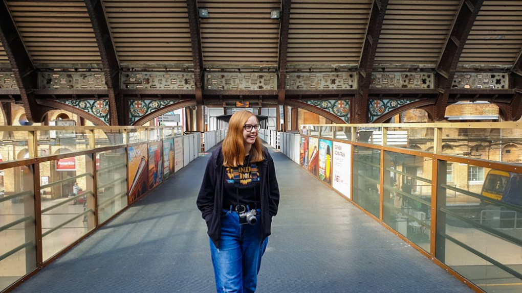 Almost Ginger blog owner on the Bridge at York Train Station, a Harry Potter Filming Location