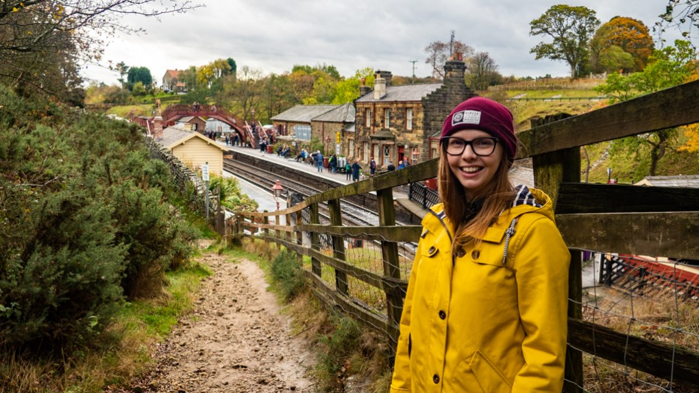 Almost Ginger blog owner at Goathland Station, a Harry Potter Filming Location in North Yorkshire
