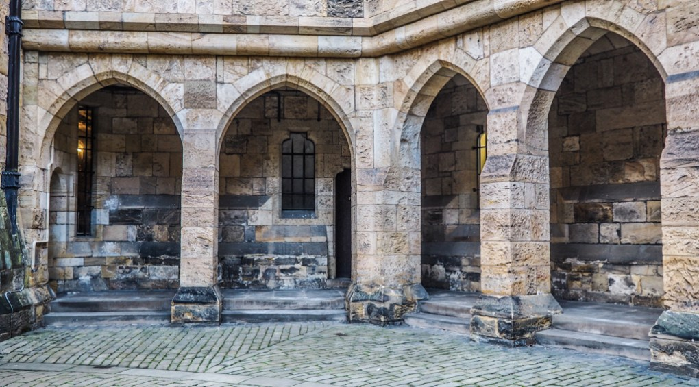 Courtyard at Alnwick Castle, a Harry Potter Filming Location in North East England