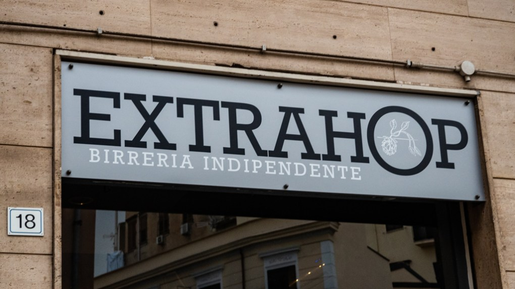 Extra Hop craft beer bar sign in Palermo, Sicily