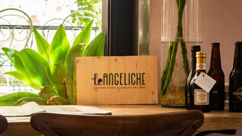 Le Angeliche interior restaurant sign in Palermo, Sicily