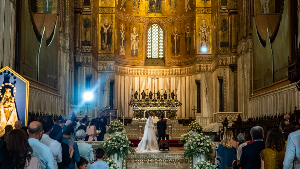 Wedding ceremony in Monreale Cathedral in Monreale near Palermo, Sicily