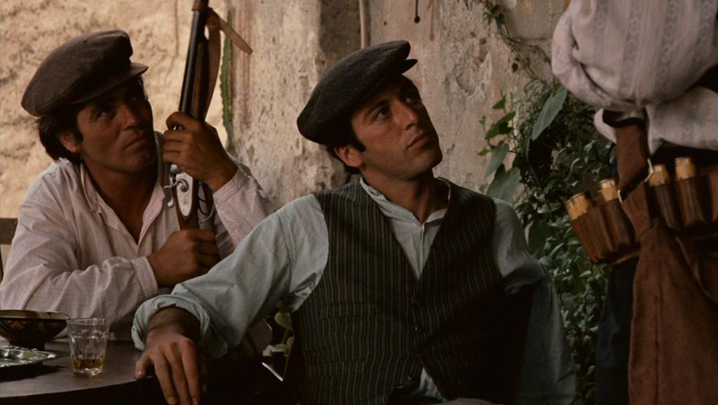 Michael Corleone at Bar Vitelli in Savoca, one of The Godfather filming locations in Sicily