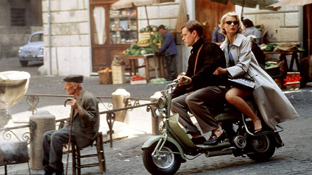 Tom and Marge on a Vespa in Rome, one of The Talented Me Ripley filming locations