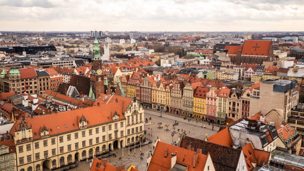 View of Wrocław Old Town Sqaure in Poland