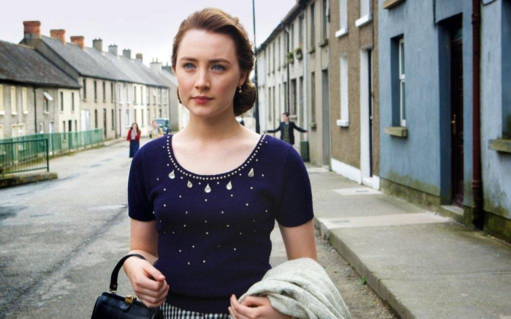 Eilis walking down her street in Enniscorthy, County Wicklow in Ireland, a Brooklyn filming location