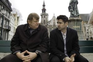 Ken (Brendan Gleeson) and Ray (Colin Farrell) talk in Jan Van Eyckplein in Bruges, Belgium in the film In Bruges