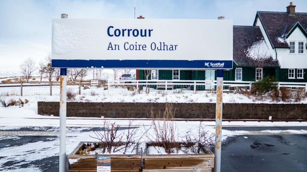 Corrour Train Station sign in Scotland