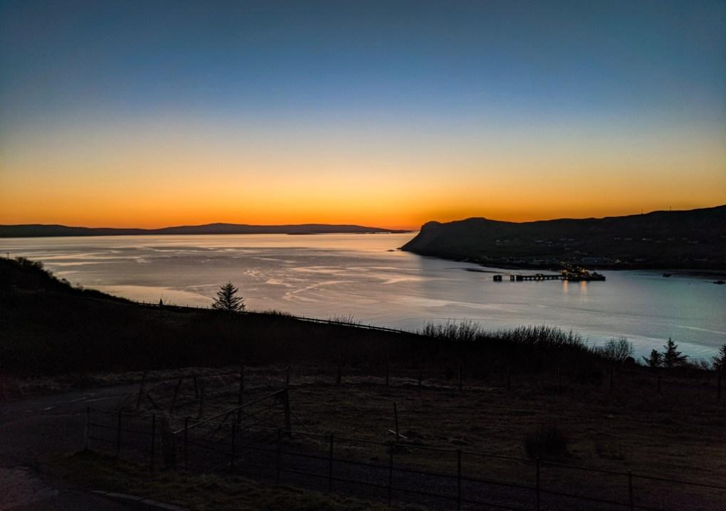 Sunset in Uig on the Isle of Skye in Scotland