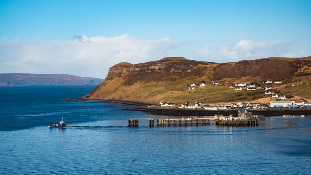Uig cliff and port on the Isle of Skye in Scotland