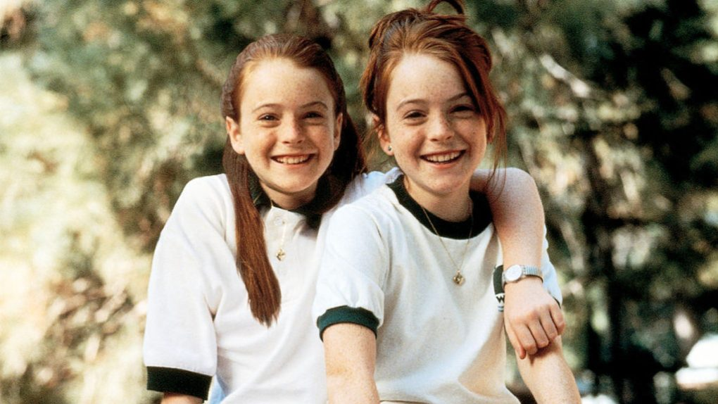 The Parent Trap (1998) film still of the twins in Camp Walden uniforms