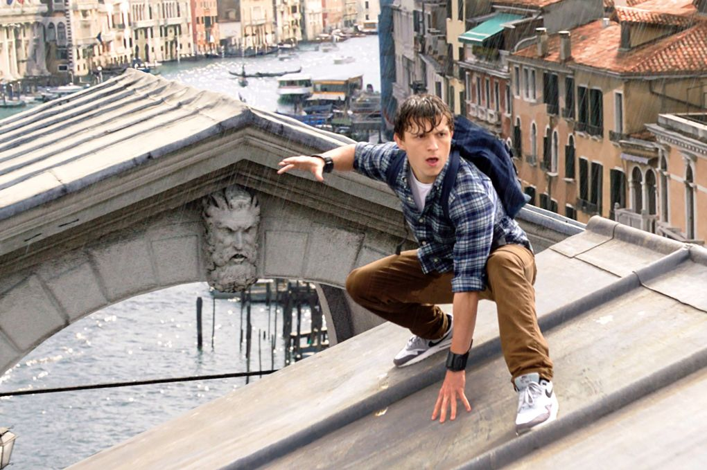 Spider-Man: Far From Home (2019) film still of Peter Parker on a roof in Venice, Italy