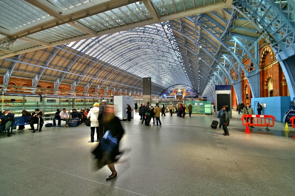 Inside St Pancras International Station in London, UK