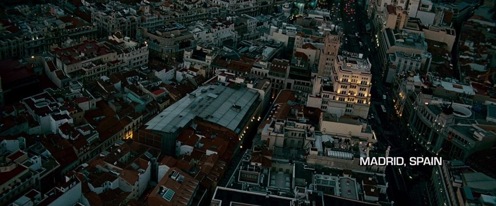 The Bourne Ultimatum (2007) establishing shot of Madrid, Spain