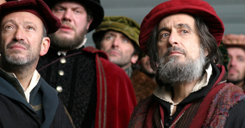 The Merchant of Venice (2004) film still of Al Pacino and four other men in Shakespearean dress