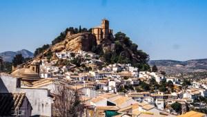 View of Iglesia de la Villa Church from Convento De San Antonio in Montefrío in Andalucía, Spain