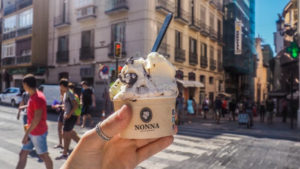 Ice cream cup from Nonna in Málaga, Spain