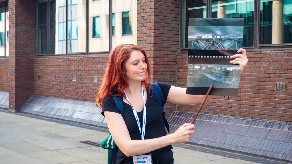 Brit Movie Tours guide Kathryn on a Harry Potter Walking Tour in London