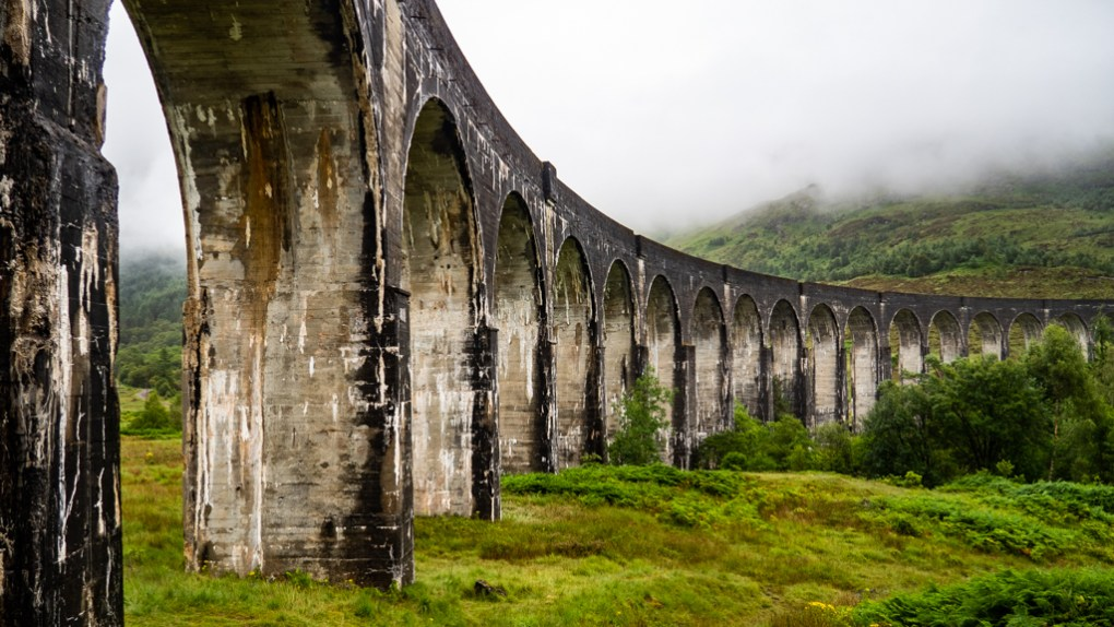 Underneath Glenfinnan Viaduct, a Harry Potter Filming Location in Scotland