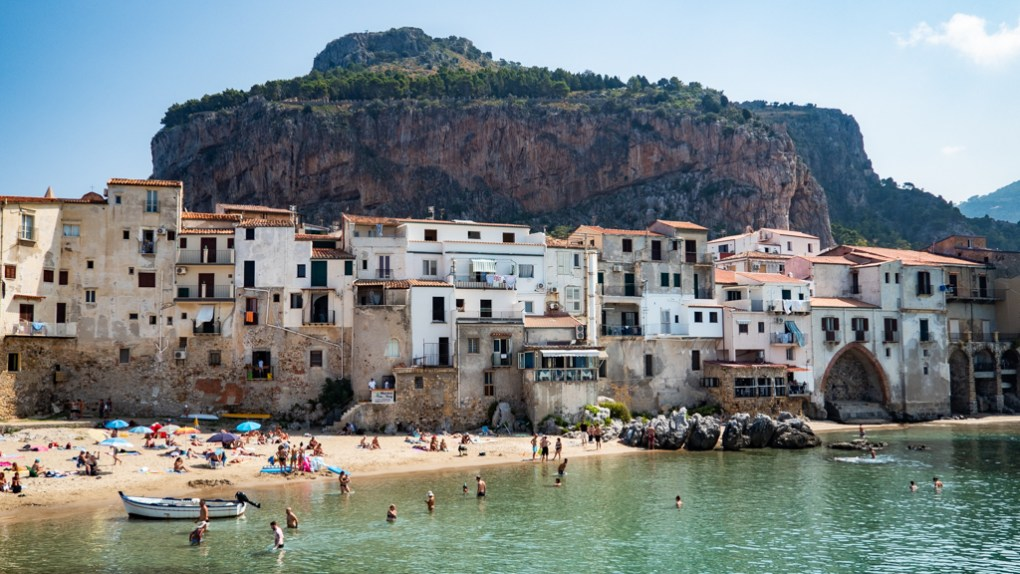 Landscape of Cefalù, Sicily from the water