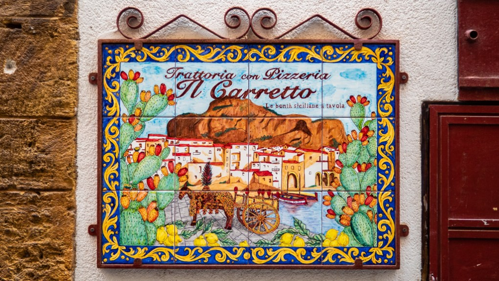 Colourful tiles in Cefalù, Sicily