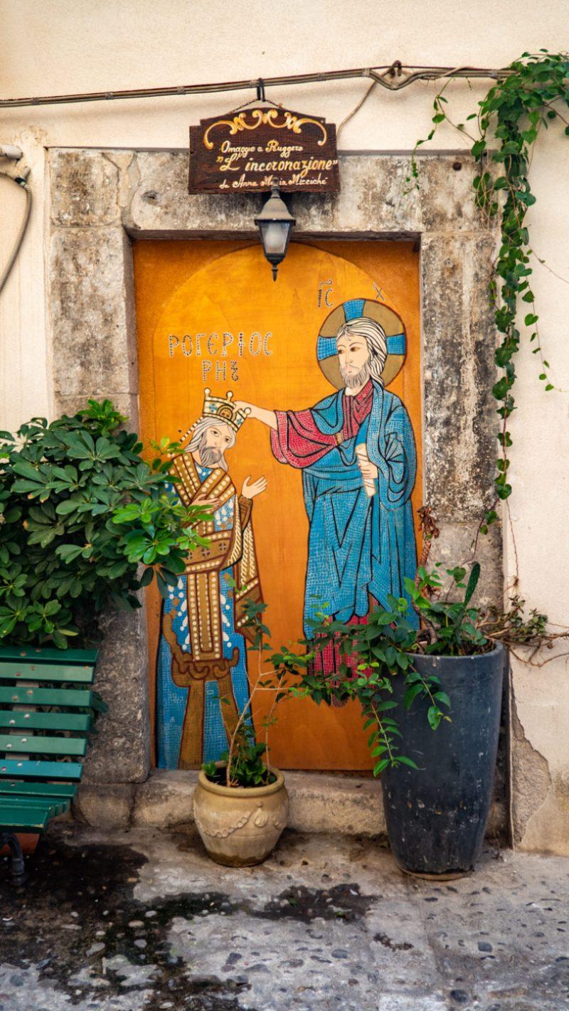 Religious street art in Cefalù, Sicily