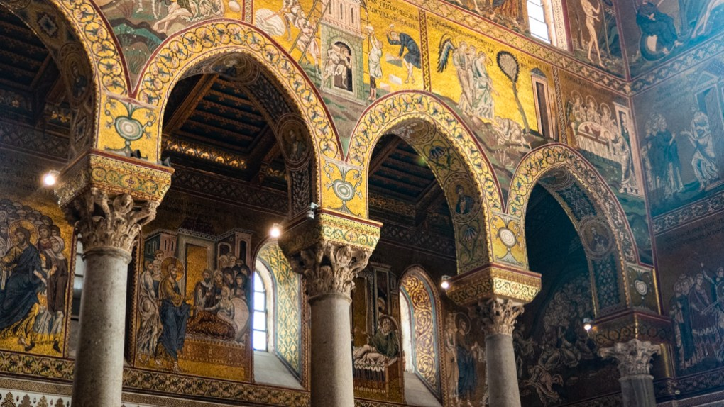 Inside Monreale Cathedral in Monreale, Palermo