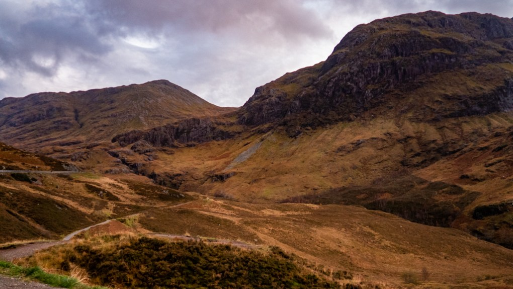 The Three Sisters Mountain in Glen Coe, Scotland Highlander Filming Location