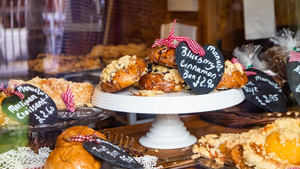 Baked goods on a stand in Manuela's Wee Bakery in the Kyle of Lochalsh, Scotland
