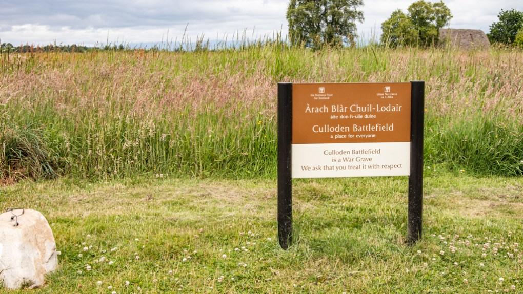 Culloden Battlefield Sign in Scotland